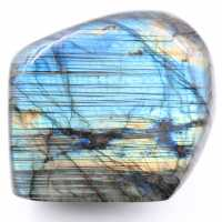 Labradorite with striped blue reflections, free form of decoration