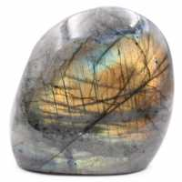 Labradorite stone with yellow reflections