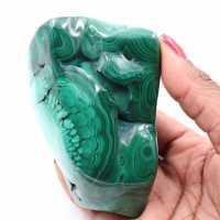 Polished malachite block