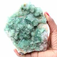 Cubic crystals of green fluorite on massive fluorite