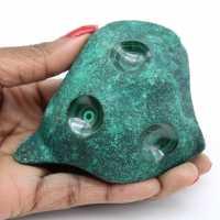 Semi-polished natural malachite