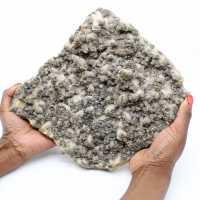 Large quartz slab with crystals of pyrite and sphalerite (blende)