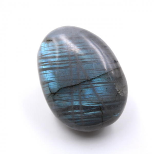 Small Labradorite pebble streaked with light blue