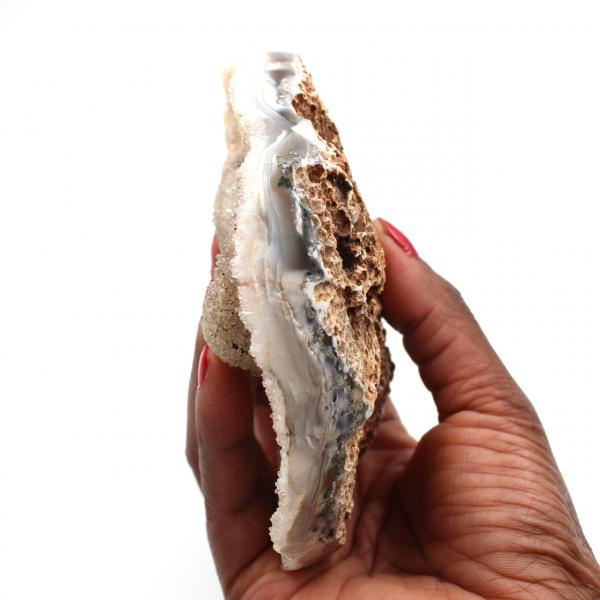 Quartz crystals on polished agate