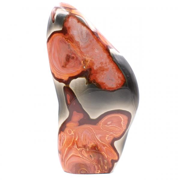 Decorative block in printed jasper, rose brown orange