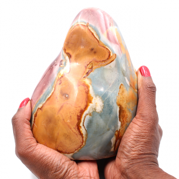 Printed jasper, decorative stone, 2 kilo, blue orange rose
