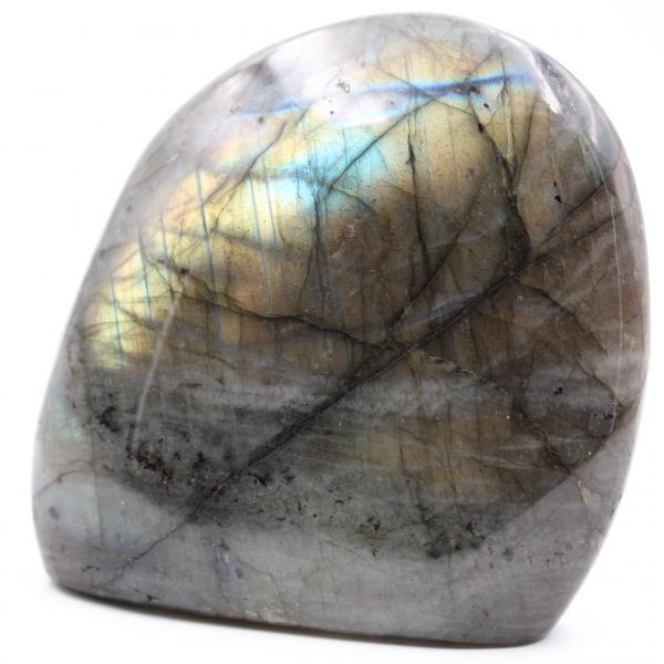 Labradorite stone with yellow reflections