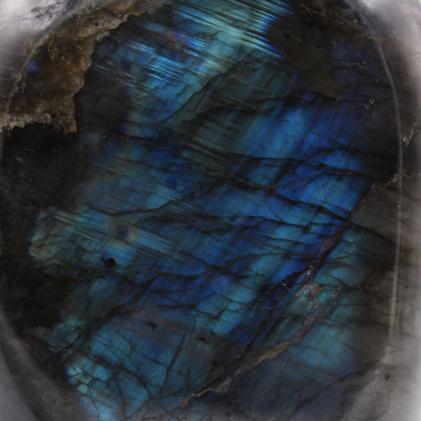 Labradorite ornamental stone with blue reflections