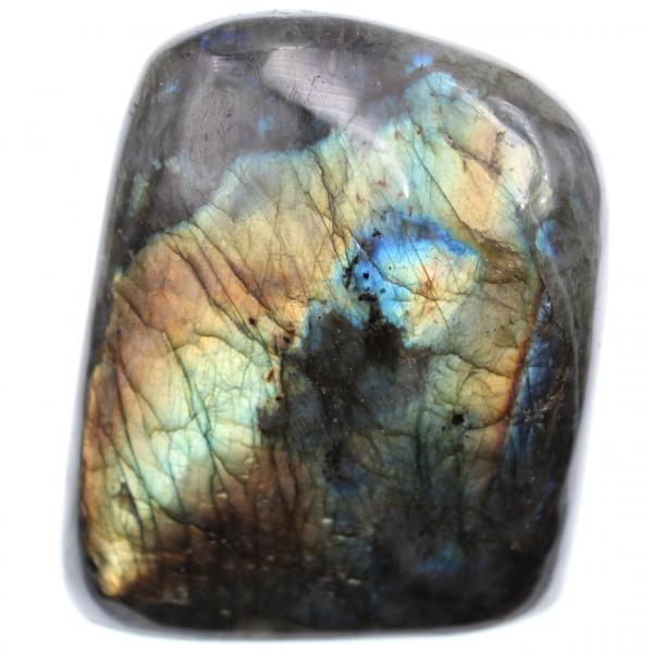 Orange yellow labradorite stone