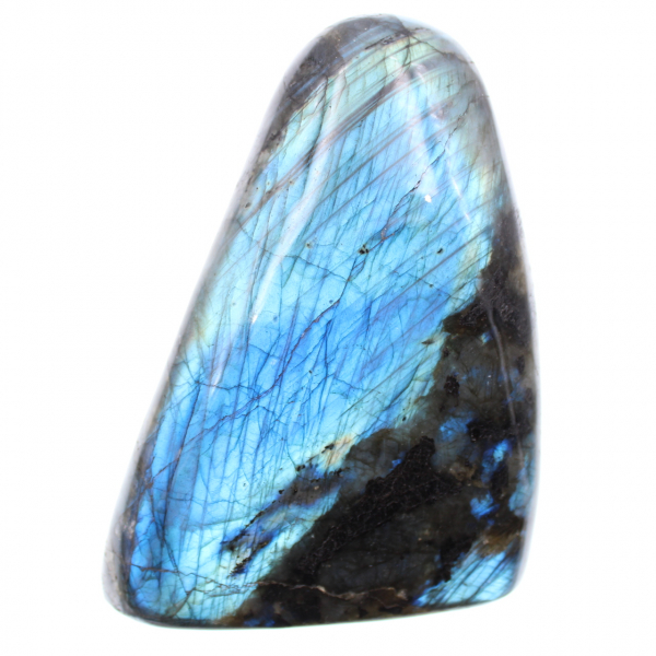 Labradorite with blue reflections, free-form decoration