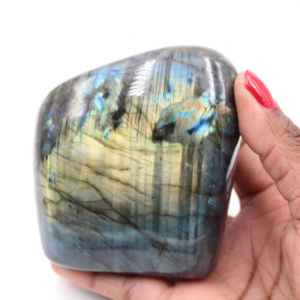 Labradorite with yellow reflections polished free form