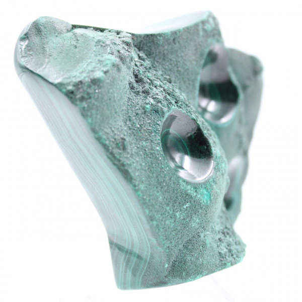 Semi-polished malachite block