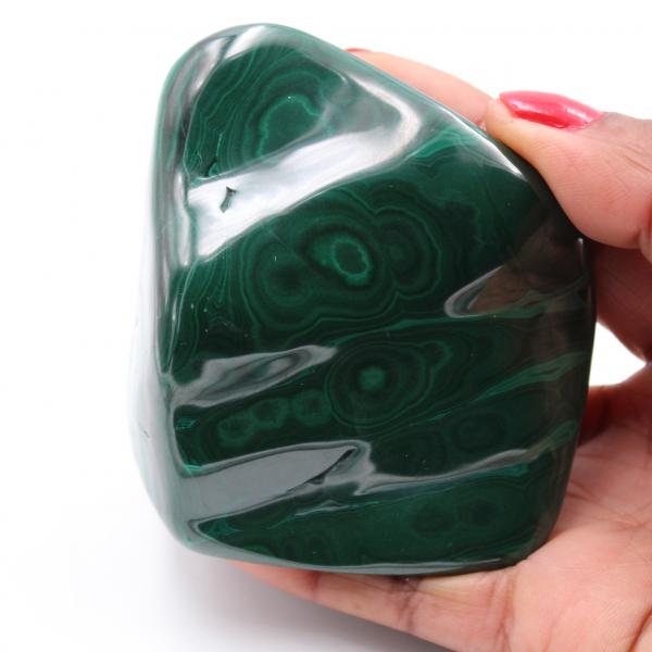 Polished natural malachite