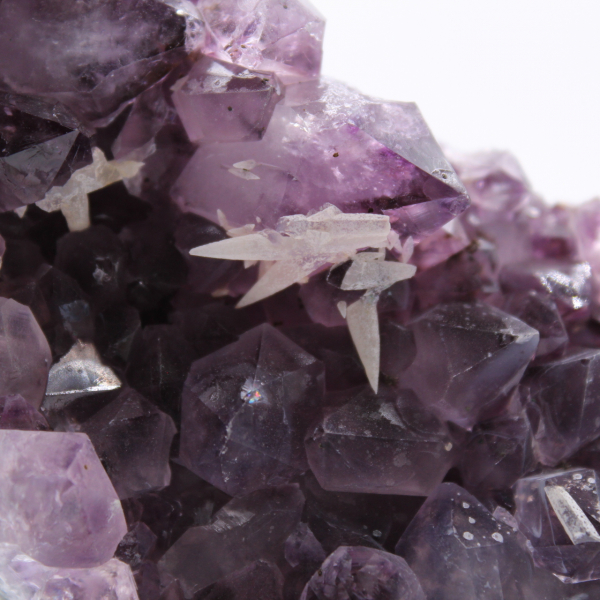 Amethyst crystals and calcite crystals