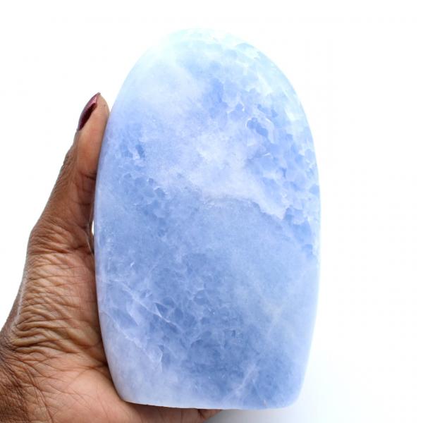 Polished blue calcite from Madagascar