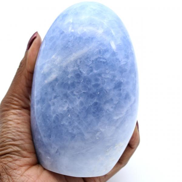 Polished blue calcite rock