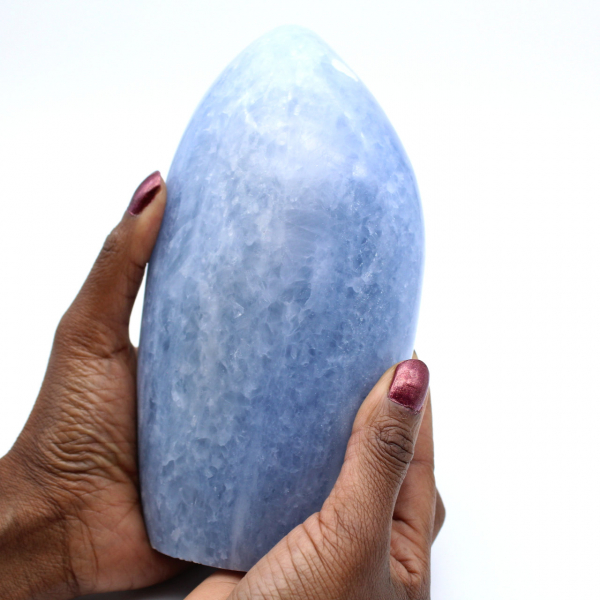 Polished blue calcite stone