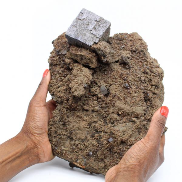 Large galena cube on ganges