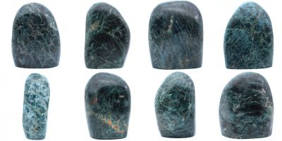 Green apatite, fully polished tabletop blocks Madagascar collection February 2021